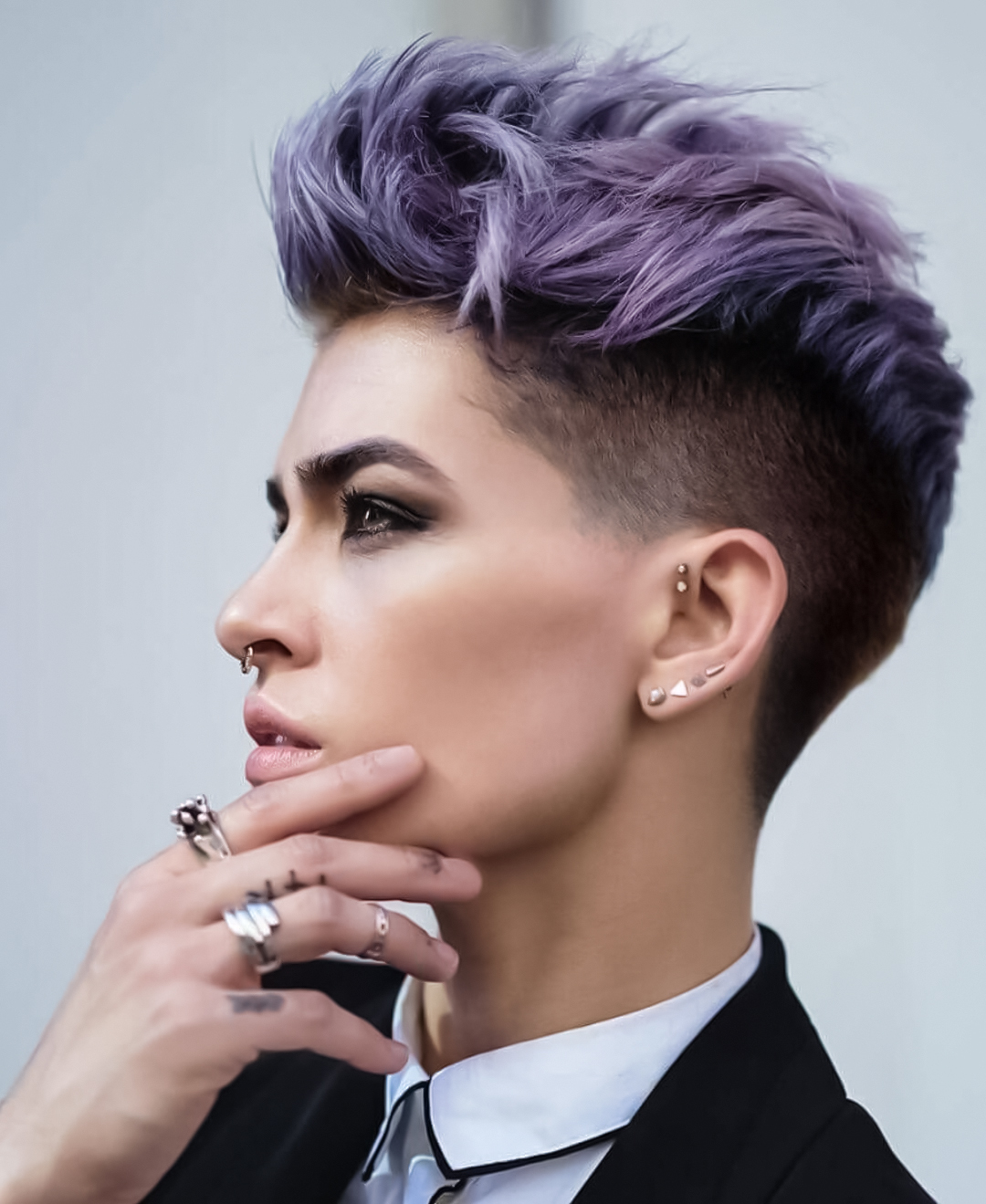 woman with purple quiff hairstyle