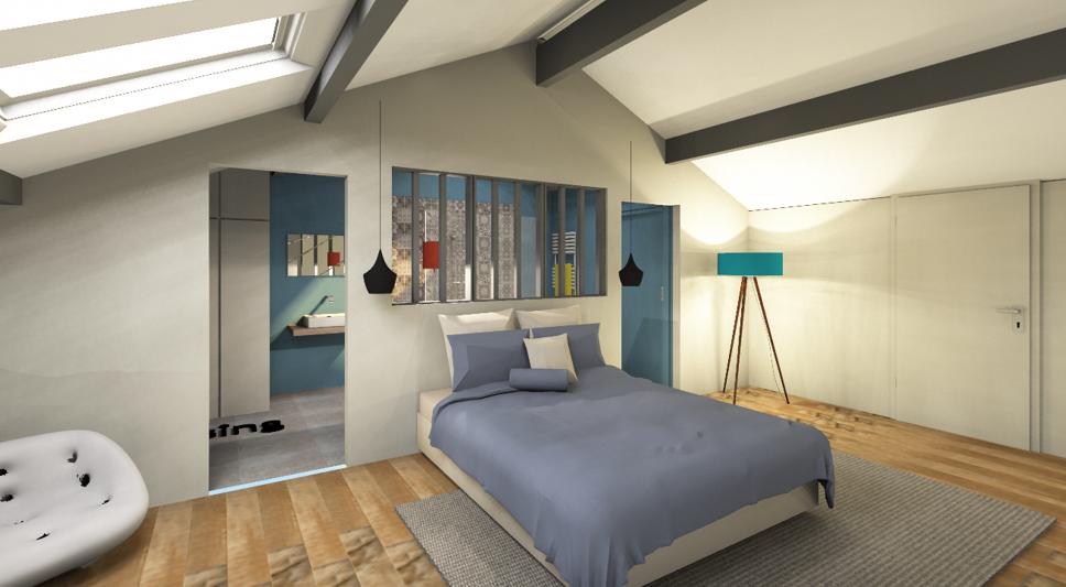 suite parentale avec verri re. Black Bedroom Furniture Sets. Home Design Ideas