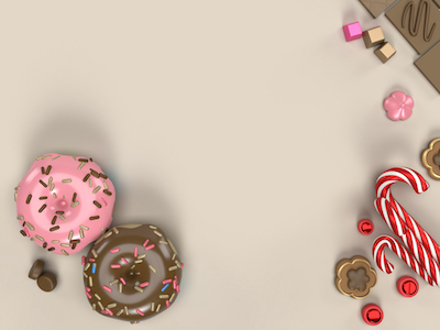 3D Donuts and candies top view