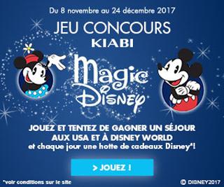 Participer - A gagner : 47 x 1 hotte de cadeaux composée de produits Disney de 80 euros.  Au tirage au sort final : 1 voyage à Orlando aux Etats-Unis pour 4