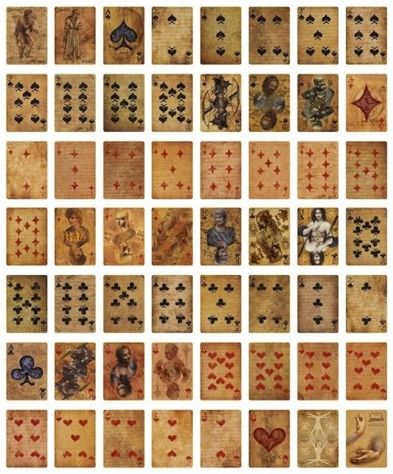 карты в стиле Леонардо да Винчи