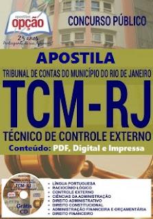 Apostila Concurso Tribunal de Contas do RJ Técnico de Controle Externo TCMRJ.