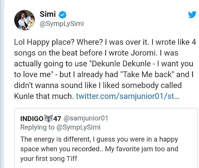 """Joromi Was A Love Song For Adekunle Gold"" – Simi discloses"
