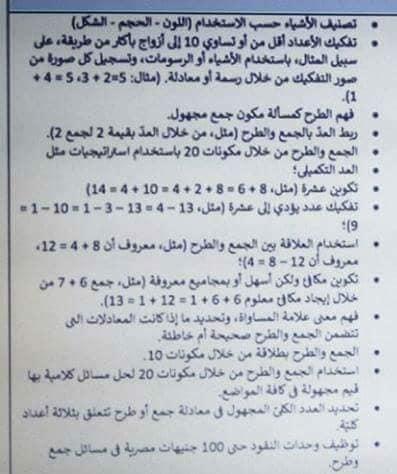 هدية لمعلمى الرياضيات للصف الاول الابتدائى مايخص الرياضيات تحضير وطريقة