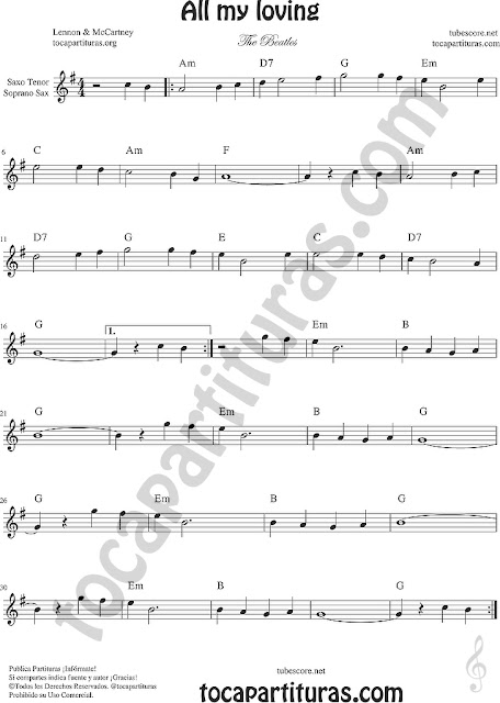 All my loving Partitura de Saxofón Tenor Soprano Sax Sheet Music for Tenor Soprano Saxophone