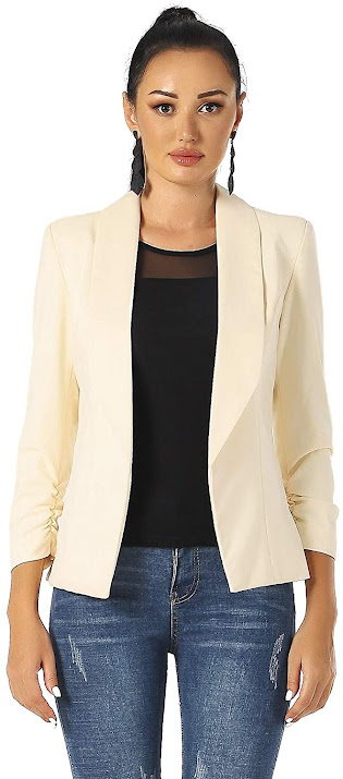 Women's Cream Blazers Cardigan Jackets