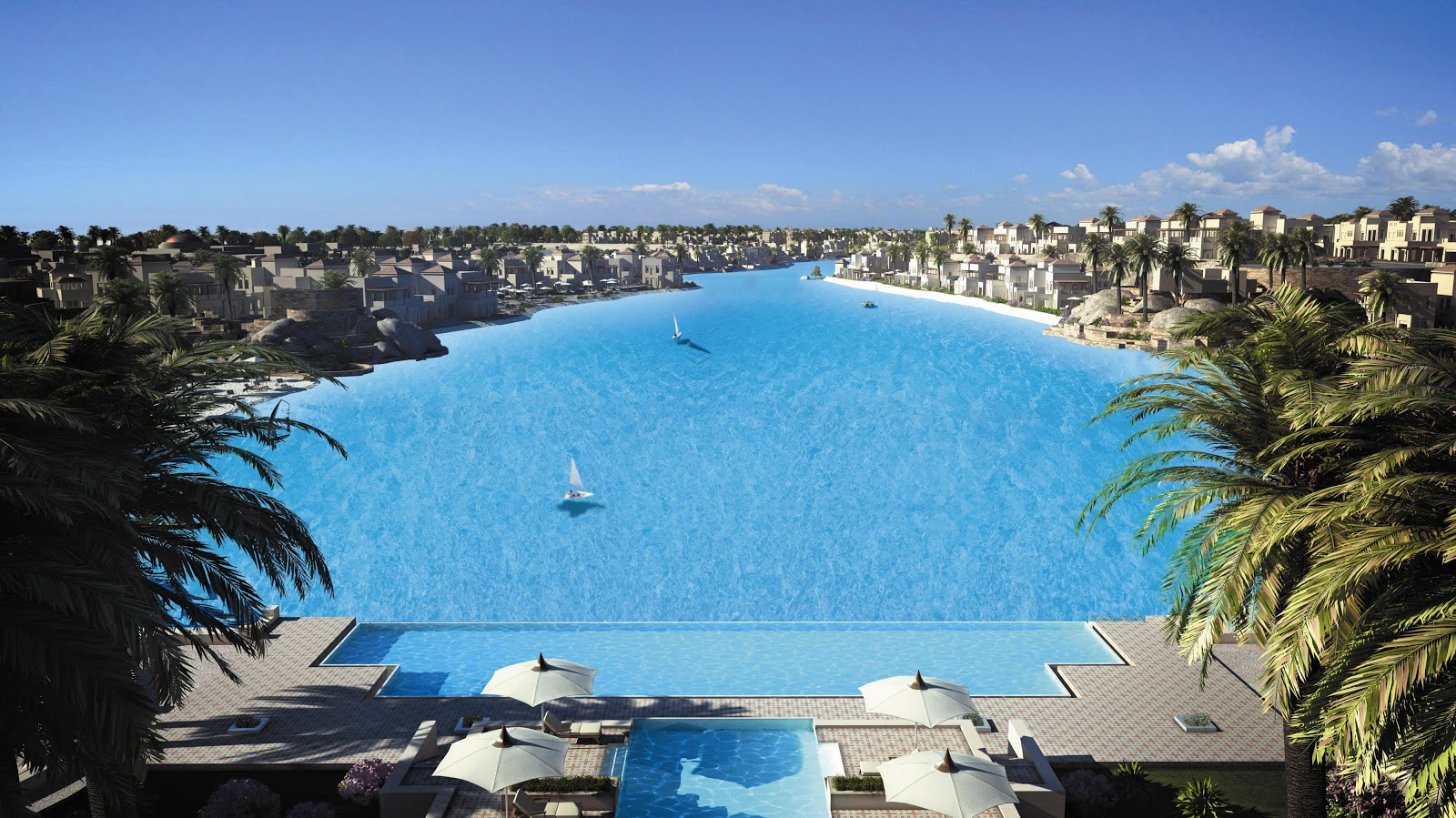 Egypt travel news world s largest swimming pool in egypt for Largest swimming pool in the us