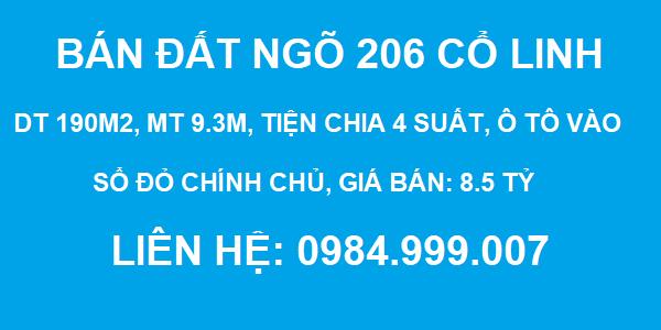Bán đất Ngõ 206 Cổ Linh, ô tô vào nhà, DT 190m2, MT 9,3m, tiện chia 4 suất, 2020