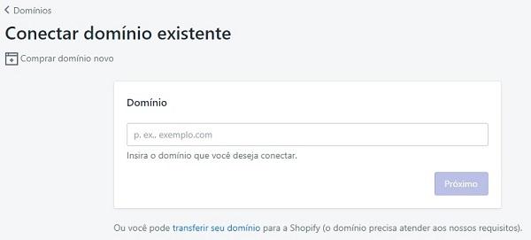 adicionar domínio loja virtual shopify