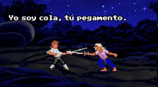 Lucha insultos Monkey Island - yo soy cola tu pegamento