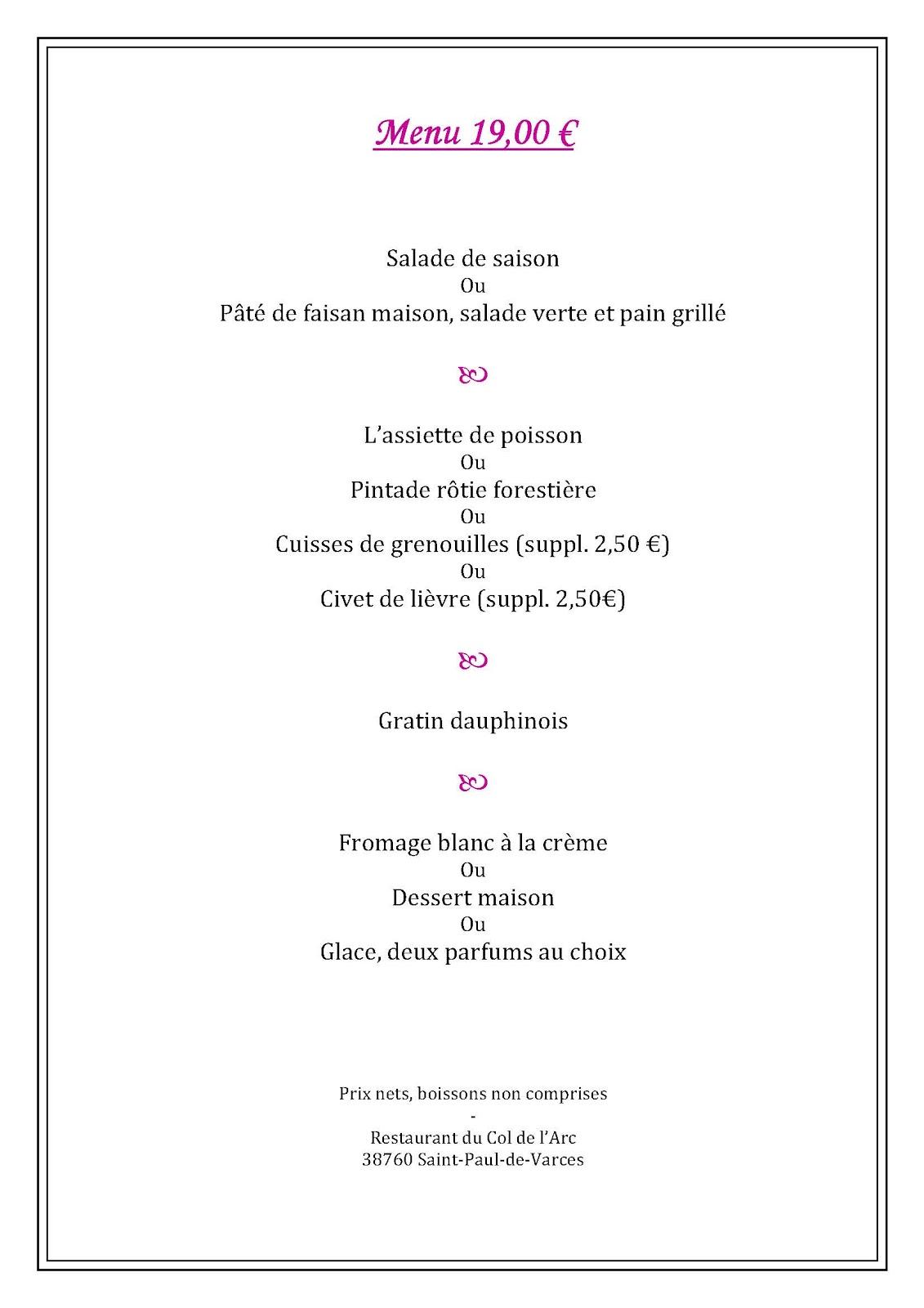 Restaurant Du Col De L Arc Menu
