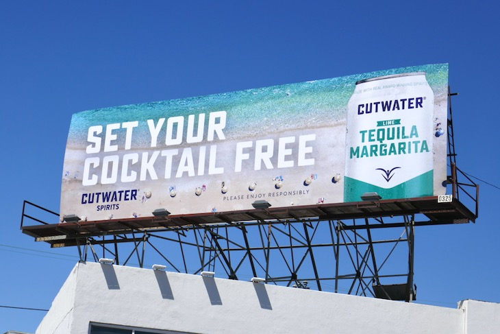 Set your cocktail free Cutwater Spirits billboard