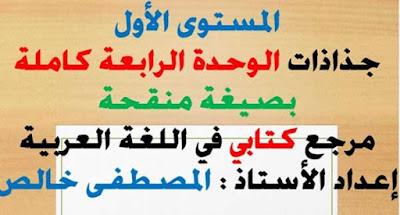 جذاذات الوحدة الرابعة كتابي في اللغة العربية المستوى الأول بصيغة معدلة