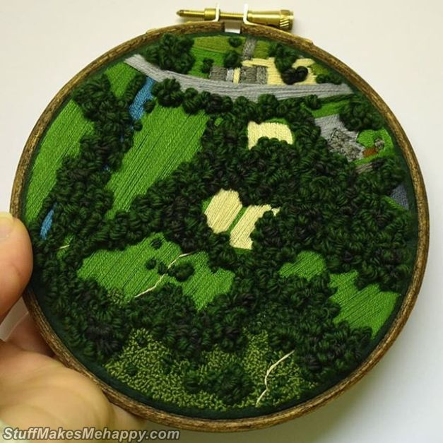 small Aerial Embroidery landscapes of Victoria Rose Richards