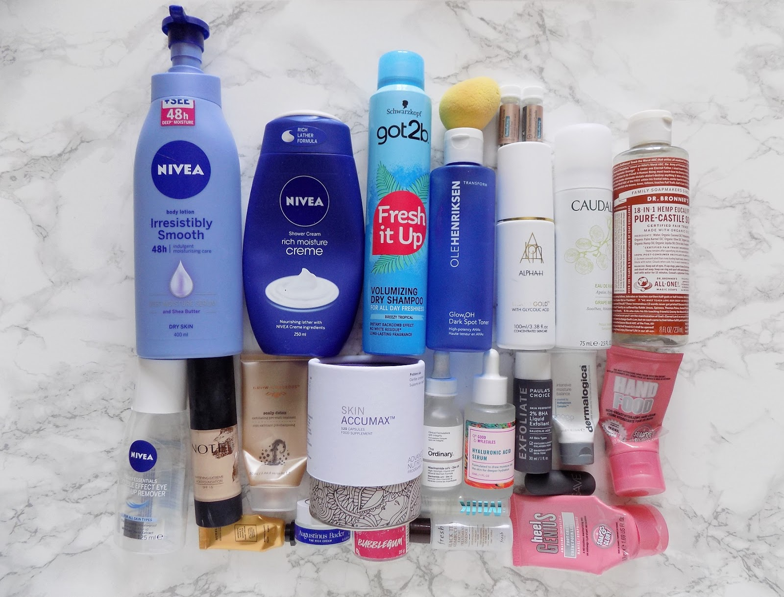 products empties reviews Nivea ole henriksen dr bronners skin accumax