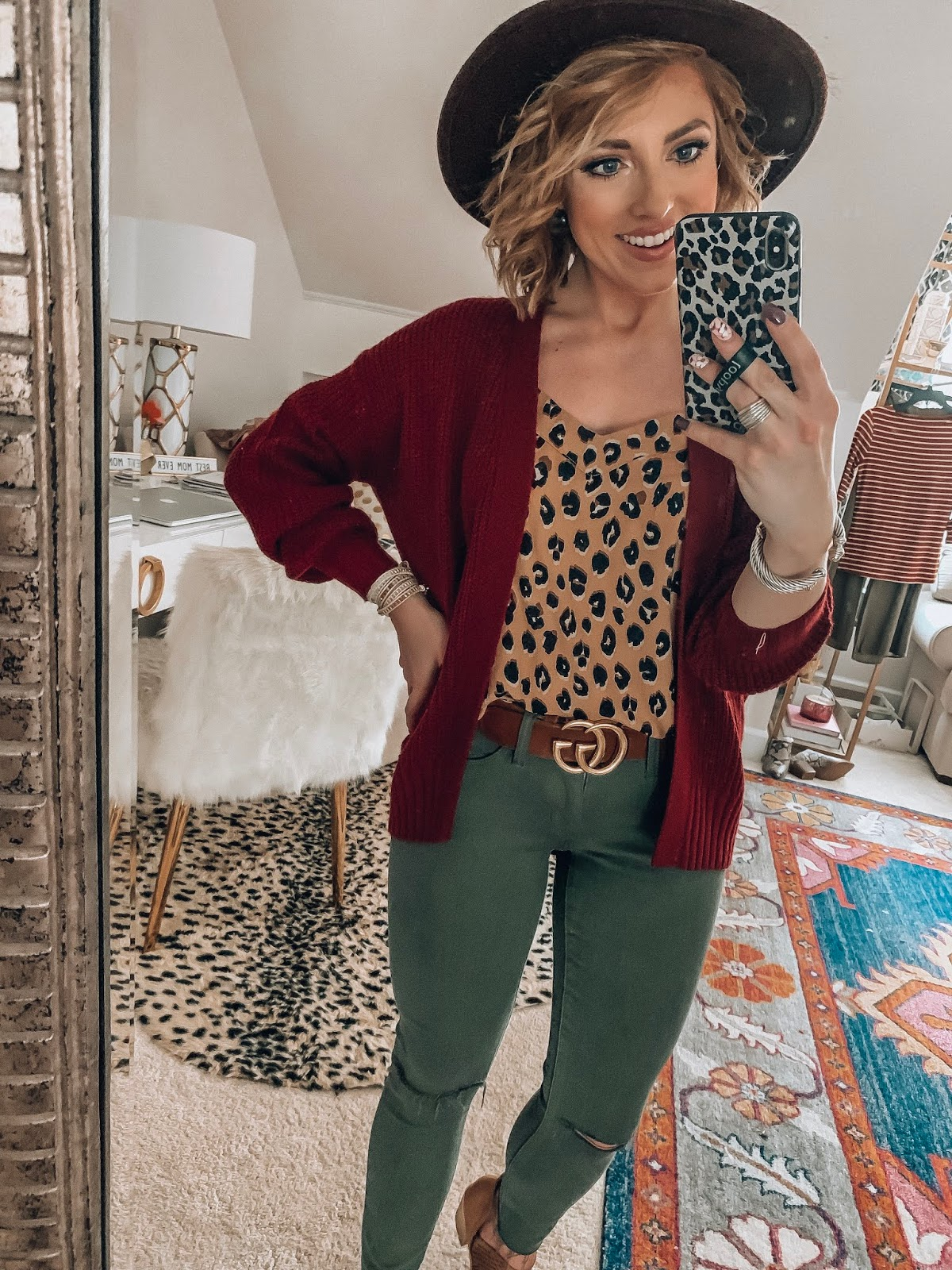 Target Fall Finds: Part Three - $20 Cardigan, Leopard Cami and Olive Green Jeggings - Something Delightful Blog #FallStyle #TargetStye
