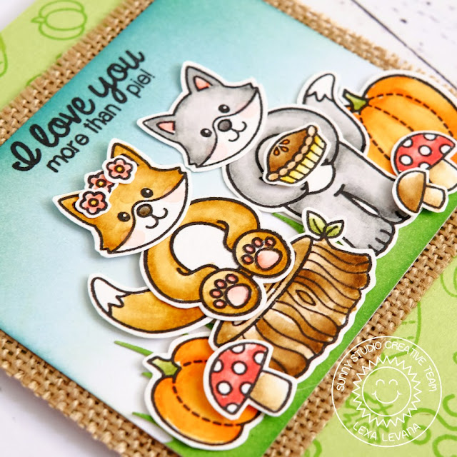 Sunny Studio Stamps: I Love You More than Pie Card by Lexa Levana (using Woodsy Creatures, Comfy Creatures & Harvest Happiness)