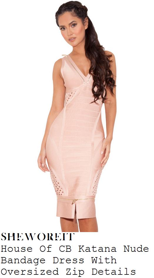 1bb1a4c26636 Nicole Scherzinger's House Of CB Katana Nude Rose Pink Sleeveless Plunge  Front Lattice Weave Panel Bodycon Bandage Dress With Oversized Gold Zip  Detail To ...