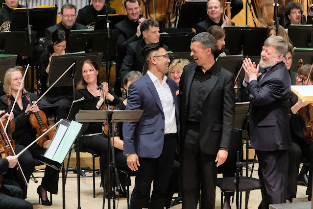 After the premiere of The World Was Once All Miracle, Raymond Yiu, baritone Roderick Williams, conductor Sir Andrew Davis and the BBC Symphony Orchestra at the  Barbican 13 April 2018 (Photo ©BBC Mark Allen)