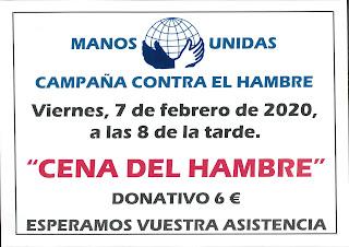 7-II-20, Cena del Hambre en favor de Manos Unidas