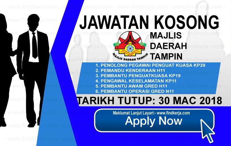 Jawatan Kerja Kosong Majlis Daerah Tampin logo www.findkerja.com mac 2018