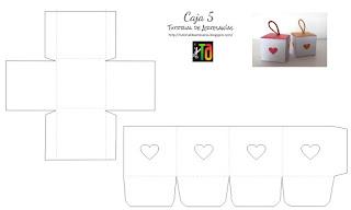 Moldes en blanco y negro o en colores, caja cubo, Tutorial de Artesania
