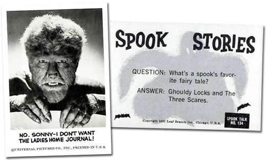 Sample cards, front and back, from Leaf's Spook Theatre set