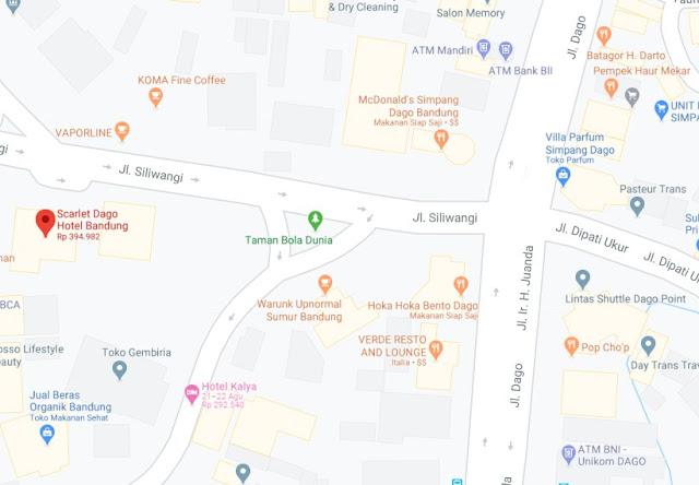 Map Letak Hotel Scarlet Dago Bandung