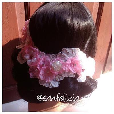 Hiasan kepala pengantin bw-pink untuk pengantin