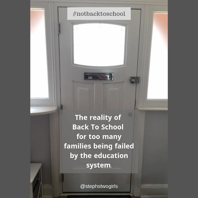 Picture of an empty front door with no child posing for a picture; words say ' the reality of back to school for too many families being failed by the education system'