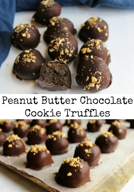 You are just three ingredients away from the most fabulous chocolate dipped peanut butter chocolate cookie truffles. These candies are easy to make and super delicious!