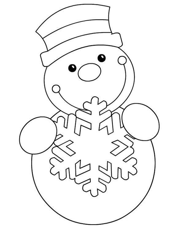Tranh tô màu người tuyết cầm bông tuyết