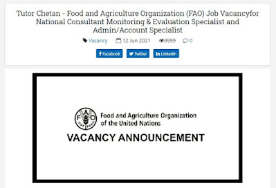 Food and Agriculture Organization (FAO) Job Vacancyfor National Consultant Monitoring & Evaluation Specialist and Admin/Account Specialist
