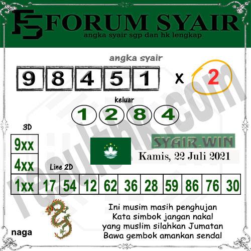 Forum Syair Toto Macau Kamis 22 Juli 2021