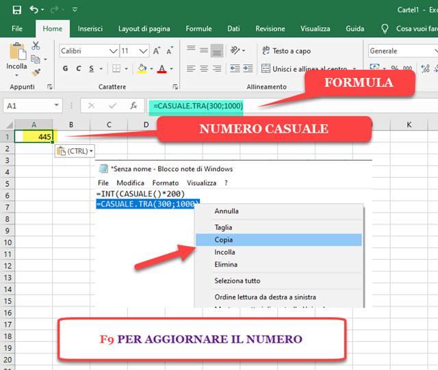 generare numeri casuali con Excel