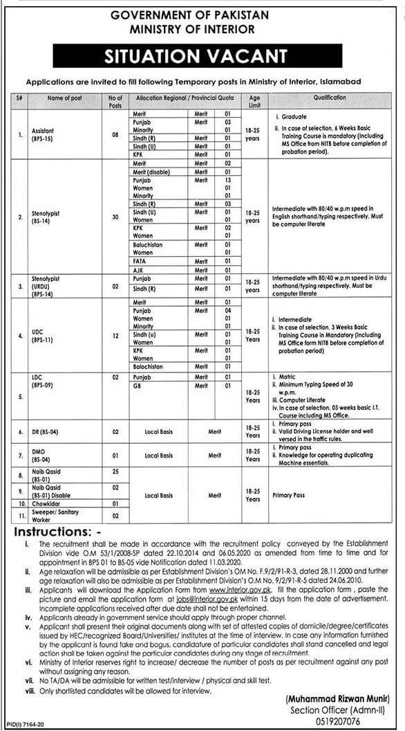 Ministry of Interior Jobs Islamabad 2021 in Pakistan - MOI Jobs 2021