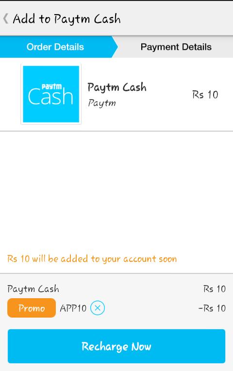 Paytm APP10 free Rs 10 wallet cash