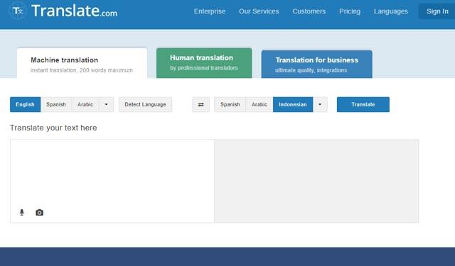 Translate.com Situs Translator Indonesia Inggris Terbaik