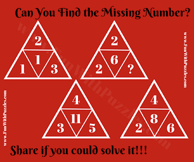 It is missing number in triangle Maths puzzle, in which your challenge is to find relationship among given numbers in the triangles and then find the missing number