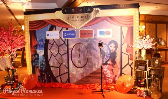 chinese oriental theme, sakura tree, vintage, gramophone, red, shanghai night, theme, microphone, structure, backdrop, vendor, event stylist, red carpet, corporate, annual dinner