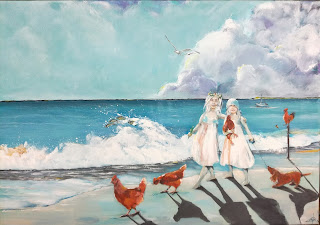 maleri, kunst, art, billigt, galleri, landskab, contemporary, moderne, hav, sea, hen, høns, friendship, brotherhood, summer, light, spring, birds, shingship, sky, wather, clean, dog, troskab