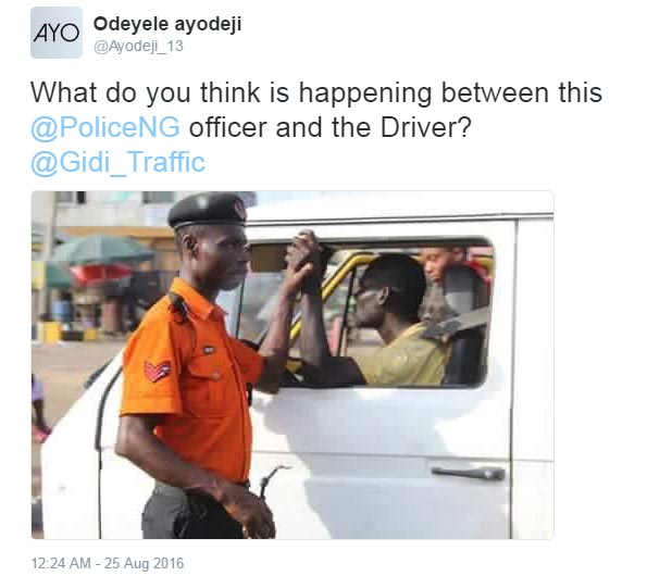 Only Nigerians will understand this kind of handshake b/w Police & driver
