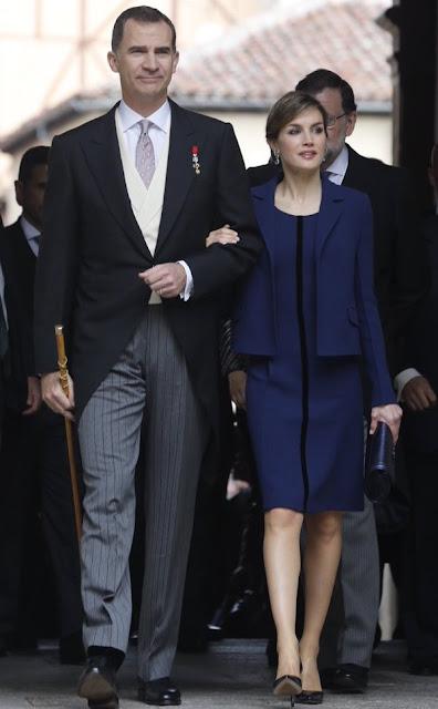 Queen Letizia attend 2016 Cervantes Awards Ceremony. Letizia wore Felipe Varela Dress