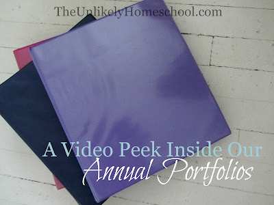 A Video Peek Inside Our Annual Portfolios {The Unlikely Homeschool}