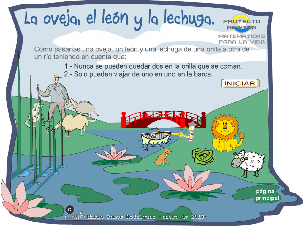 http://www3.gobiernodecanarias.org/medusa/eltanquematematico/proyectoNEWTON/ovejalechugaleon/ovejaleonlechuga_m2r_p.html