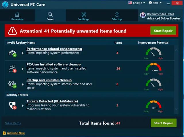 Universal PC Care (Falso optimizador)