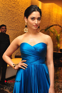 Actress Tamannaah Pictures in Blue Long Dress at Abhinetri Audio Launch  0137.jpg