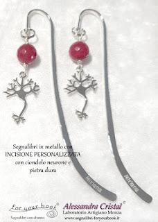 segnalibro metallo inciso nome ciondolo neurone laurea