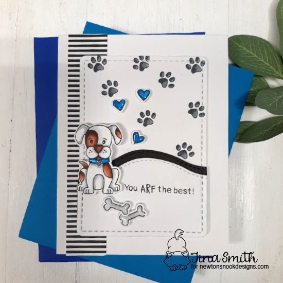 Puppy Card by Tina Smith | Puppy Playtime Stamp and Frames & Flags Die Set by Newton's Nook Designs #newtonsnook #handmade