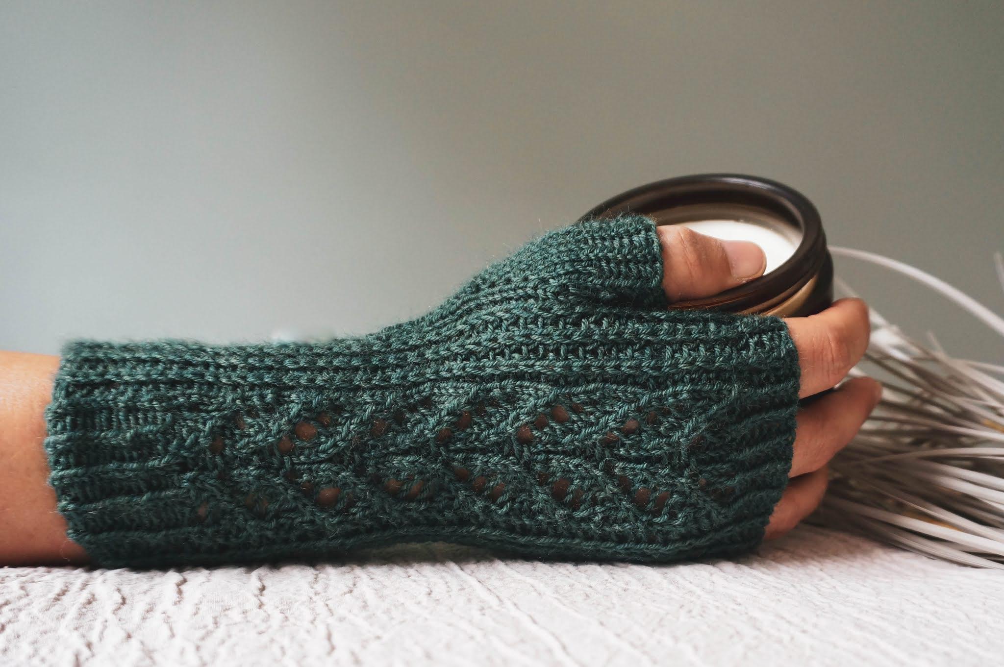 Kew Fingerless Mitts knitting pattern by West Beach Knits